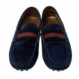 Gucci Blue Suede Web Detail Loafers Size 45 142876