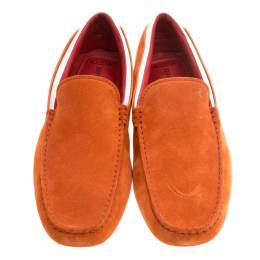 Tod's For Ferrari Orange and White Suede Loafers Size 44 146340