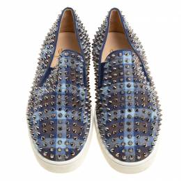 Christian Louboutin Blue Check Canvas Roller Boat Spiked Slip On Sneakers Size 44 147310