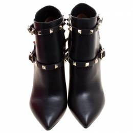 Valentino Black Leather Rockstud Pointed Toe Ankle Boots Size 38 121039