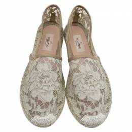 Valentino Beige Lace and Leather Espadrilles Size 40 81991