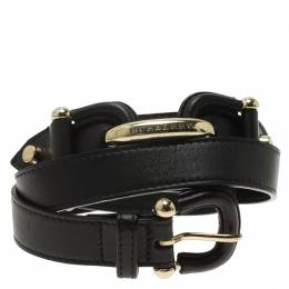 Burberry Black Leather Logo Belt 90 CM 59206