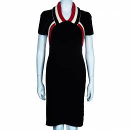 Balenciaga Black Wool Knee Length Dress M 48732