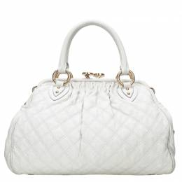 Marc Jacobs Ivory Quilted Leather Stam Satchel 51646