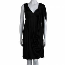 Kenzo Black Knit Draped Sleeveless Dress M 79927