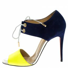 Christian Louboutin Two Tone Leather and Suede Mayerling Lace-Up Sandals Size 38 92078