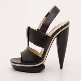 Balenciaga Black Leather Platform Sandals Size 38.5 37306