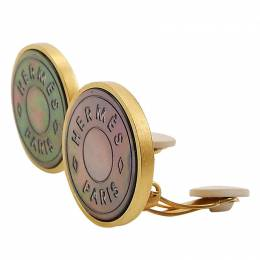 Hermes Clous De Selle Metal Pierced Earrings 41459