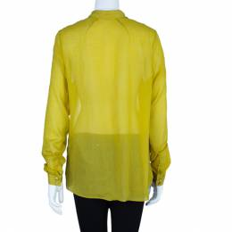 Kenzo Yellow Cotton Blend Shirt M 6055