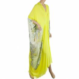 Roberto Cavalli Yellow Silk-chiffon Printed Kaftan Dress S 23927