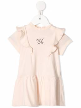 Emporio Armani Kids - ruffle-trim embroidered logo dress A953J0TZ953509630000