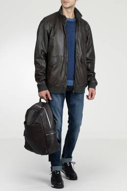 Коричневая кожаная куртка Strellson 585160756