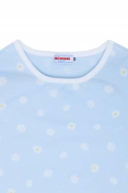 Голубой лонгслив с принтами-ромашками Miki House 3018160171