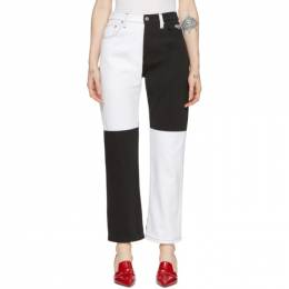 MSGM Black and White Colorblocked Jeans 192443F06900304GB