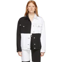 MSGM White and Black Denim Colorblocked Jacket 192443F06000602GB