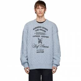 Raf Simons Blue Aran Crewneck Sweater 192287M20102104GB