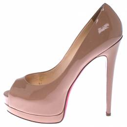 Christian Louboutin Beige Patent Leather Fetish Peep Toe Platform Pumps Size 40 238089