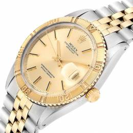 Rolex Silver 18K Yellow Gold and Stainless Steel Datejust Turnograph Vintage 1625 Men's Wristwatch 36MM 237879