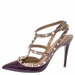Valentino Purple Patent Leather Rockstud Ankle Strap Sandals Size 38.5 237242