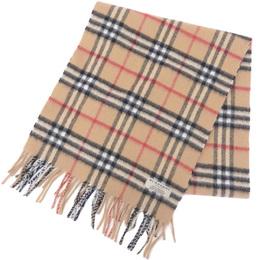 Burberry Camel Cashmere Flannel Nova Check Muffler 237591