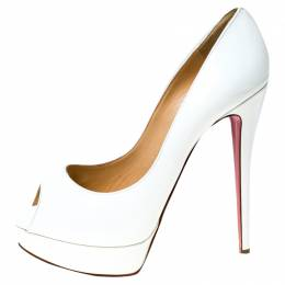 Christian Louboutin White Patent Leather Lady Peep Platform Pumps Size 40 237379