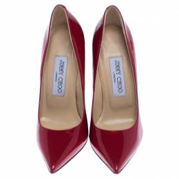 Jimmy Choo Red Patent Leather Anouk Pointed Toe Pumps Size 35.5 238115