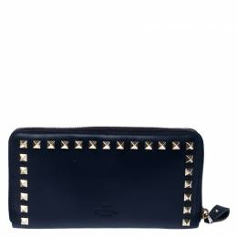Valentino Navy Blue Leather Rockstud Zip Around Wallet 235251