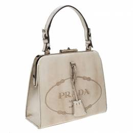 Prada Beige Logo Print Patent Leather Frame Top Handle Bag 231951