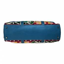 Prada Multicolor Canvas And Leather Tote Bag 218264