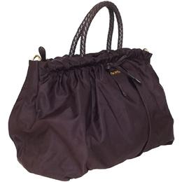 Prada Bordeaux Nylon Tessuto Bow Shoulder Bag 218260