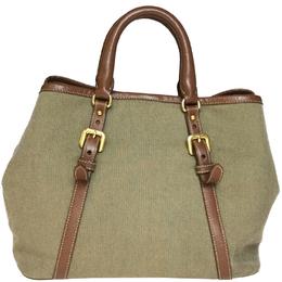 Prada Khaki Canapa Canvas Top Handle Satchel Bag 218249