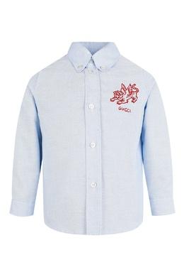 Голубая рубашка с надписью Gucci Kids 1256160333