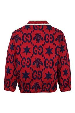 Красная куртка с темно-синим орнаментом Gucci Kids 1256160306