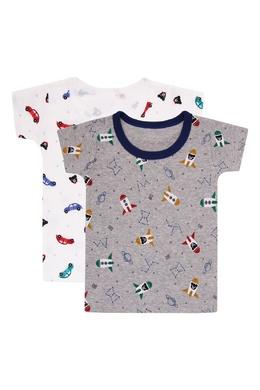 Комплект из двух футболок с машинками и ракетами Miki House 3018160256