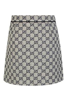 Серая юбка средней длины с орнаментом Gucci Kids 1256160341