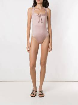 Amir Slama - front tie detail ribbed swimsuit 30955933350000000000