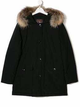 Woolrich Kids TEEN racoon fur-trimmed parka WKCPS2019CN03BLK