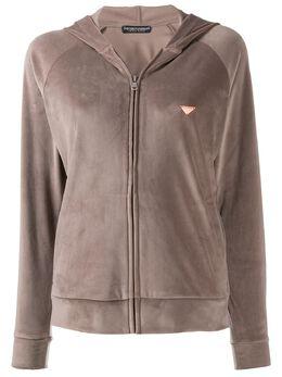 Emporio Armani - velour zipped hoodie 3399A066955999560000