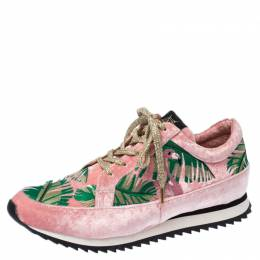 Charlotte Olympia Pink/Green Flamingo Velvet Work It Sneakers Size 40