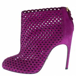 Sergio Rossi Purple Suede Cut Out Ankle Booties Size 41 238275