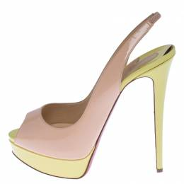 Christian Louboutin Colorblock Patent Leather Lady Peep Toe Sling Platform Sandals Size 40 238009