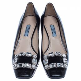 Prada Black Patent Leather Embellished Square Toe Pumps Size 37.5 238076