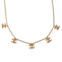 Chanel CC Logo Charm Gold Tone Necklace 238060
