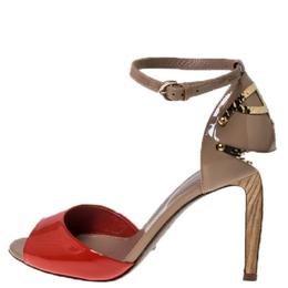 Sergio Rossi Beige/Orange Patent Leather Peep Toe Wooden Heel Ankle Strap Sandals Size 36 237400