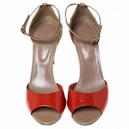 Sergio Rossi Beige/Orange Patent Leather Peep Toe Wooden Heel Ankle Strap Sandals Size 36 237400