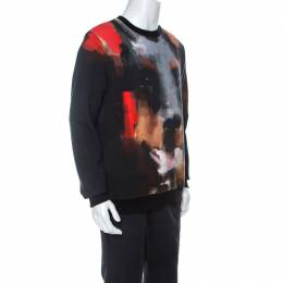 Givenchy Black Abstract Doberman Print Washed Out Cotton Sweatshirt S 238334