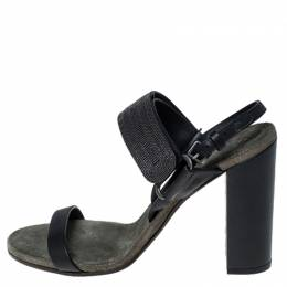 Brunello Cucinelli Black Leather Bead Detail Ankle Strap Sandals Size 37 236201