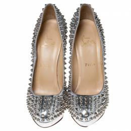 Christian Louboutin Metallic Silver Leather Alti Spike Platform Pumps Size 38.5 235989