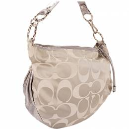 Coach Silver/Gray Signature Canvas Shoulder Bag 238363