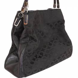 Coach Black Fabric And Leather Op Art Shoulder Bag 238360